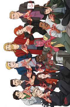 Avengers, assembled. THANK YOU WHOEVER MADE THIS for including Quicksilver, Scarlet Witch, Falcon, and Bucky. They are all Avengers in my mind. This is my avengers team.
