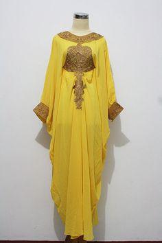 Fancy Gold Embroidery Caftan Dubai Abaya Maxi Dress - Yellow Chiffon For Women