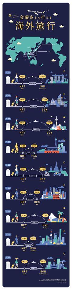祝・プレミアムフライデー!金曜夜から行ける海外旅行|Infographics|ANA Travel & Life Web Design, Graph Design, Japan Design, Information Design, Information Graphics, Japan Info, Information Visualization, Ui Web, Good To Know