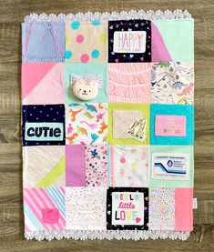 Want to make a quilt from baby clothes to preserve those special keepsake items that have so many memores? Here's how you do it - with loads of inspiration! Baby Memory Quilt, Baby Quilts, Memory Quilts, Girl Scout Swap, Girl Scout Leader, Diy Baby Clothes Quilt, Chalk Pencil, Girl Scout Crafts, Amigurumi