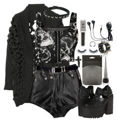 """""""Your name like ice into my heart."""" by siennabrown ❤ liked on Polyvore featuring Julien Macdonald, Christian Louboutin, Lipsy, UNIF, WearAll, Forever 21, Versace, deepstyle, Dark and goth"""