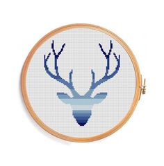 Deer cross stitch pattern - Ombre blue gradient horns geometric embroidery designs hunter Christmas Nativity xmas greetings happy new year (3.99 USD) by PatternsCrossStitch