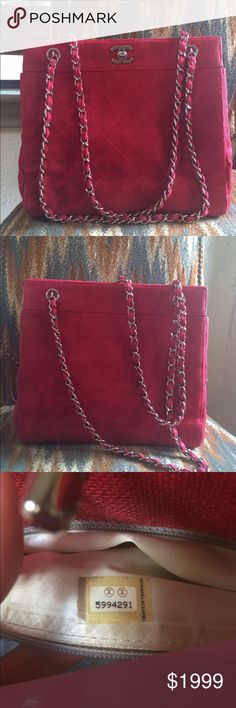 Authentic $3900 Chanel Matelasse Chain Bag Red Great bag, very few signs of wear. Gorgeous red canvas with silver hardware. Silver lambskin leather lining. Purchased in 2001, time for a new home, we are downsizing some of our items to make room for a new addition to the family:) Reasonable offers will be accepted. Please keep in mind that this is an authentic bag, purchased by me and if you need any additional info-don't hesitate to ask. CHANEL Bags