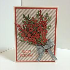 Birthday card made using Impression Obsession Hollyhocks die.