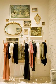 Wardrobe wall idea...this would be great for planning a work clothes ahead of time; and I probably would still be late.