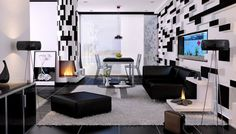 Apartment Elegant Small Apartment Black And White Wall Decor Black Leather Sofa With Dining Room Tripod Floor Lamp Fireplaces And Shag Area Rug Black Floor Tiles Black And White Color Scheme For Simple Apartment Living Room Decor More Charming