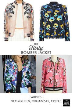 Flirty bomber jacket fabrics, on the McCall Pattern Company blog