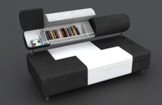 Multifunction and space-saving are two things that we really appreciate in modern furniture and this new Compact Sofa Bed by Baita Design does both excellently. The storage areas . Small Space Design, Small Space Storage, Hidden Storage, Storage Spaces, Small Spaces, Storage Ideas, Storage Solutions, Secret Storage, Storage Units
