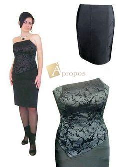 Coctailkleid Abendkleid 2- Teiler Träger Korsage Rock Knielang Schwarz Apropos