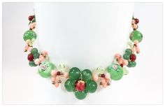 Aventurine Garden handmade necklace Coral, Murano, green Agate, Aventurine 14K Gold by Aura Virginia