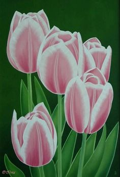 Irma Endrey: Pink tulips; oil on canvas