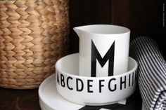 Design Letters: milk jug and bowl with Arne Jacobsen typography