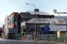 Manchester Street from near the corner of St Asaph & Manchester Streets. Notice the old Paint Sign on the side of the building. This has been revealed now that the building beside it has come down. This whole area was cordoned off. Christchurch Earthquake 2011, New Zealand.