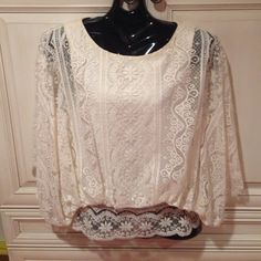 Beyond Vintage Co-Op Barneys Lace Blouse Top M Like new women's beyond vintage blouse.  Ivory lace over silk shell.  Size medium.  Purchased from Barneys ny Beyond vintage Tops Blouses