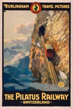 Vintage travel poster Pilatus Railway Switzerland