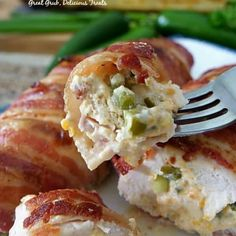 Bacon Wrapped Jalapeno Popper Chicken is a delicious chicken recipe full of cream cheese, diced jalapenos, onions, cheese, then wrapped in bacon and baked. Bacon Wrapped Jalapeno Poppers, Jalapeno Popper Chicken, Bacon Wrapped Chicken, Stuffed Jalapeno Peppers, Ham And Noodle Casserole, Cheesy Potato Casserole, Casserole Recipes, Yummy Chicken Recipes, Yum Yum Chicken