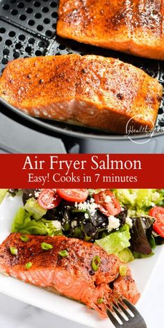 Salmon Air fryer salmon is an easy main dish to throw together in a hurry and it makes the most juicy delicious salmon Ready in 10 minutes or less Air Fryer Fish Recipes, Air Frier Recipes, Air Fryer Dinner Recipes, Healthy Salmon Recipes, Seafood Recipes, Cooking Recipes, Cooking Tools, Healthy Food, Healthy Drinks