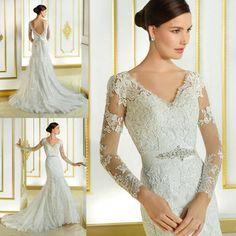 Vestido De Noiva Sereia New Fashionable Backless Lace Wedding Dresses Long Sleeve Mermaid Bridal Gowns Belt Court Train W4021
