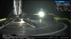 The Falcon 9 rocket's first stage booster sits on the drone ship in the Atlantic Ocean. Credit: SpaceX