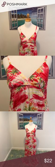 "Mossimo Tropical Maxi  Dress Must Have Tropical Maxi Dress By Mossimo! Size:XS. EUC. Colors are fuchsia pink, white, gray, yellow, orange & shades of green with palm trees, ocean, pineapples, hotels, boats etc. adjustable straps. Great for a casual day with flip flops, vacations or beach! 100% rayon machine wash tumble dry. Pls note too long for Mannequin but wanted to demonstrate. Length approx 40"" not including straps. NO TRADES. Mossimo Supply Co Dresses Maxi"