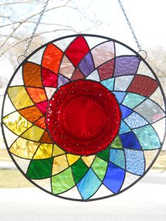 Contemporary Colorful Stained Glass Plate Panel. $85.00, via Etsy.
