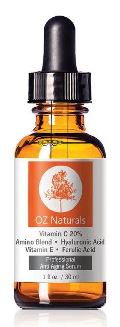 OZ Naturals - Siero per il viso con vitamina C - Vitamina C + Aminoacidi + Acido Jaluronico - Lascia la pelle luminosa e più giovane neutralizzando i radicali liberi