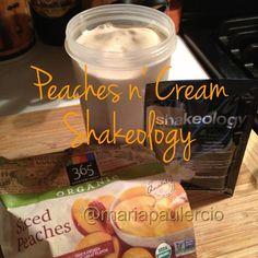 Peaches N Cream Shakeology 1 c of ice, 1 scoop vanilla shakeology, 1 c almond milk, 1 c frozen peaches. Blend & serve. Can add 1 t. peanut butter.