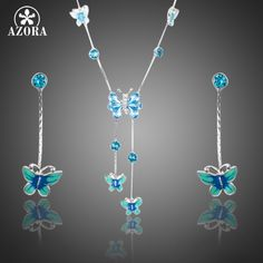 Elegant Stellux Austrian Crystal Butterfly Oil Painting Pattern Drop Earrings and Pendant Necklace Jewelry Set TG0190
