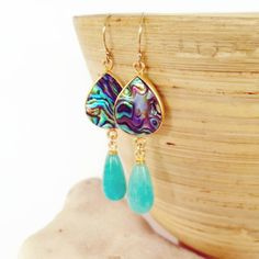 Abalone and Amazonite Stone Earrings by Aina Kai~ totally dig it in yellow and orange!