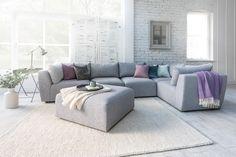 The Lounge Co. - Lottie Modular Sofa in Family Friendly Kaleidoscope Weave - Oyster Pearl #theloungeco #sofa #modular #modularsofa #sectional #sectionalsofa #grey #greysofa #jumping #family #familysofa #modern #modernsofa #interiorinspiration