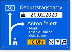 Einladungskarten 50. Geburtstag, Autobahnschild