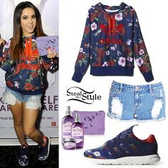 Becky G visited the gift lounge at KIIS FM's Jingle Ball in Los Angeles on Friday wearing an Adidas Originals Rita Ora Roses Logo Hoodie ($80.00, sold out), shorts similar to the Forever 21 Distressed Denim Cutoffs ($15.80), and a pair of Adidas Originals Rita Ora ZX 500 2.0 Shoes ($90.00). Among the gifts she posed with was the DEVONNE by Demi Premium Skin Care Kit ($29.95) from Demi Lovato's new skin care line.
