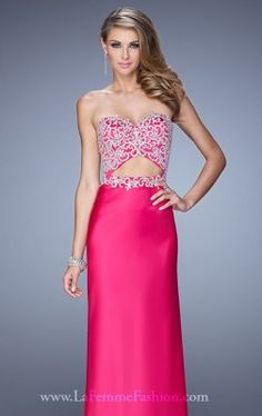 Srapless Embroidered La Femme 21458 Long Prom Gown