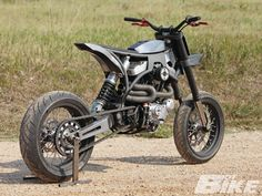 """""""I wanted something that I could jump, wheelie, take down the freeway, and climb up a hill. I wanted something that I thought was the ultimate motorcycle"""" Tracker Motorcycle, Scrambler Motorcycle, Moto Bike, Motorcycle Design, Bike Design, Sportster Scrambler, Concept Motorcycles, Custom Motorcycles, Custom Bikes"""