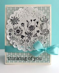 Stamped Doily Card and many doily cards