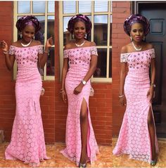 Pretty and simple style. Pink Aso ebi long dress.  Nigerian bride wedding inspiration.  Purple gele