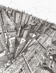 'Three-point perspective' Pencil on Paper by Veri Apriyatno 2004