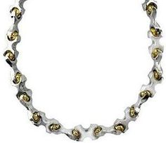 Solid X and Ball Links Chain In 14K Gold. #Jewelry #Necklace