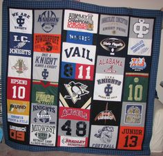 t shirt quilt - graduation/off to college gifts for my boys.......except I can't sew :(