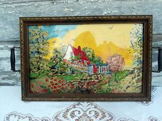Antique Serving Tray Hand Painted Little Red Riding Hood