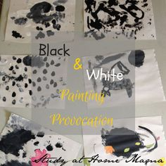 Black and White Reggio Provocation Painting
