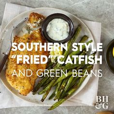 Enjoy the flavors of the South in this better-for-you air fried catfish and green beans recipe. Thanks to your air fryer, you'll be able to make this hearty, home-cooked meal in less than 30 minutes. #airfryerdinner #airfryerrecipes #airfriedcatfish #airfriedgreenbeans #quickmeals #bhg Air Fry Recipes, Fish Recipes, Healthy Recipes, Green Bean Dishes, Green Bean Recipes, Air Fried Green Beans, Fried Catfish, Quick Easy Meals, Sausages