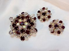Sparkling Red AB Rhinestone Pin and Earrings with by bitzofglitz4u, $48.00