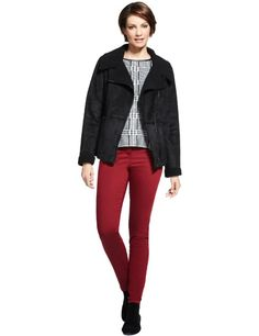 M Collection Suede Faux Shearling Biker Jacket - Marks & Spencer (By Meredith Kemp-Ghani for Stuart Peters Ltd. )
