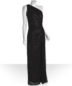 Y Junior Prom Dress - Tadashi Shoji - one shoulder black sequin gown