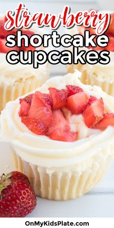 These strawberry shortcake cupcakes are a delicious and fresh treat! Layered with a moist vanilla cupcake, a whipped vanilla cream cheese frosting, and fresh diced strawberries, these delicious cupcakes are a hit for summer BBQ's, birthday  parties, baby showers and more. Moist Vanilla Cupcakes, Delicious Cupcakes, Baking Recipes, Dessert Recipes, Fun Recipes, Recipe Ideas, Desserts, Strawberry Shortcake Cupcake, Strawberry Cupcakes
