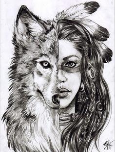 Картинки по запросу волк индеец тату