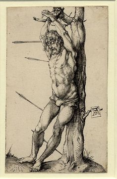 engraving (scope note | all objects) Production person Print made by Albrecht Dürer (biographical details | all objects) Date 1501 Schools /Styles German (scope note | all objects) Description St Sebastian, tied to a tree and with the four arrows not piercing his skin. c.1501 Engraving