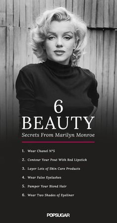 Marilyn Monroe has taught us a lot about what it means to be a beauty icon. We've discovered that the sexy starlet had a few must-know beauty tricks. From old-school highlighting methods to her signature fragrance, Marilyn's beauty secrets are still worth Marylin Monroe, Marilyn Monroe Makeup, Marilyn Monroe Costume, Marilyn Monroe Quotes, Marilyn Monroe Hairstyles, Marilyn Monroe Style, Marilyn Monroe Brunette, Daily Beauty Routine, Norma Jeane