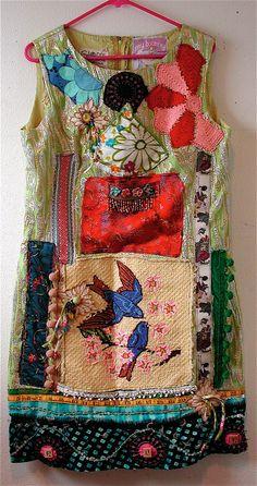 Repurposed Vintage Fabric Upcycled Vintage 1960 DRESS BLUEBIRD mybonny